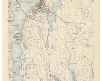 Fall River 1890 USGS Old Topo Map Reprint Topographic Massachusetts Quad