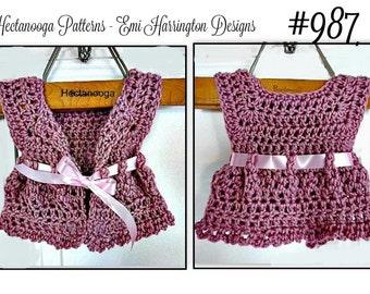 Bolero Vest, Baby Sweater, Girl's Shrug,  Crochet PATTERN- kids, child, children, Newborn - 6 yrs,  one hour vest,  jacket,#987