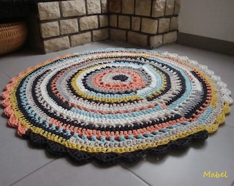 Large zpagetti round multicolor 120 cm cotton recycled crochet rug
