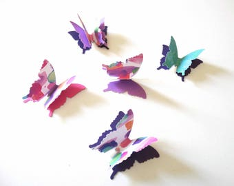 3D Colorful Paper Butterflies, bridal shower decor, girls room wall decor, butterfly birthday party, 1st year birthday party, garden party