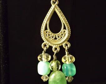 Boucles d'oreilles chandelier en argent sterling et turquoise