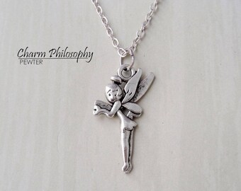 Tinkerbell necklace etsy tinkerbell necklace silver peter pan inspired charm antique silver jewelry aloadofball Gallery
