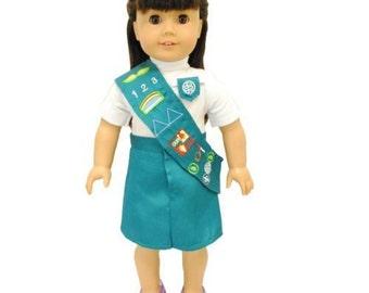 Green Junior Girl  Scout uniform for 18 inch dolls