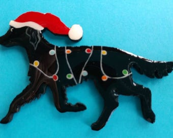 Flat Coated Retriever Christmas Pin, Magnet or Ornament -Color Choice -Hand Painted -Free Shipping- Free Personalization Available