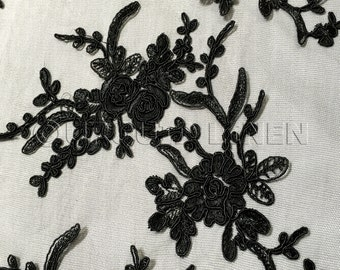 Laylani Lace Fabric in Black - Gorgeous Fabric With Floral Embroidery Throughout - Best for Weddings, Bridal Parties, and Events