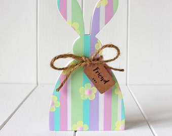 Sweet Hand Painted Stripe Wooden Rabbit