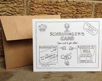 Schroedingers Gift Card. All occasions. Physics humor. Gift card holder. Absurd humor. Made in USA. Blank card. Funny cards. Humorous cards