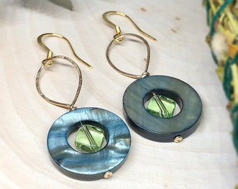 Jet Shell Loop with Green Olivine Glass Bead, Hammered GF Hoop on 14k Gold Plated Ear Wire Earrings