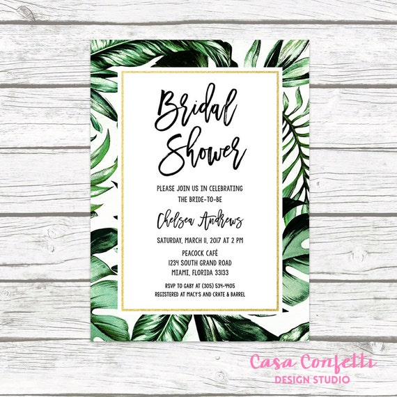 Tropical bridal shower invitation tropical invitation palm filmwisefo