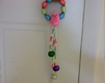 Pink Chickadee Door Hanger