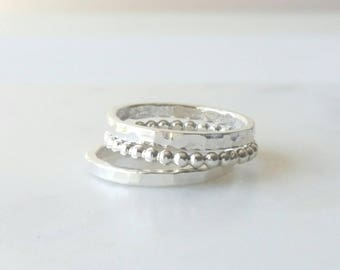 Sterling Sliver Rings - Mixed Ring Stack -  Set of 3 - Stackable Rings - Statement Rings - Handmade