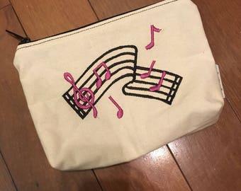 Embroidered Zipper Pouch-Music Score (EZip 30)