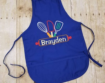 Kids personalized apron, child apron, Kids Easter Apron, personalized apron, boy apron, girl apron, kids apron, rolling pin, chef, kid