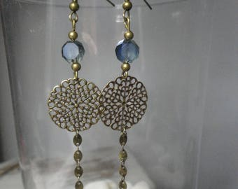 Brass and Pearl Earrings