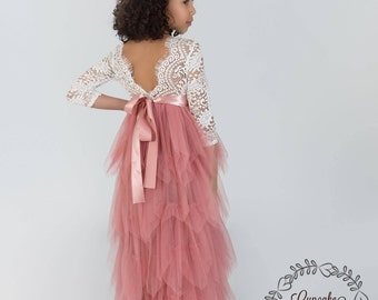 Flower girl dress, photography prop, mauve pink dress, lace flower girl dress, lace flower girl dress, bohemian flower girl dress