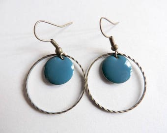 Earrings - peacock blue confetti