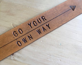 Leather Bookmark Go Your Own Way College Student Gift Graduation Gift Stocking Stuffer Inspirational Bookmark