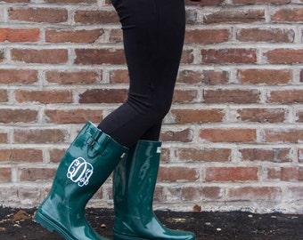 Aqua Green Rainboot- SororityGift, Bridesmaid Gift, Graduation Gift, Birthday Gift, For Her, Personalized Rain Boots, Monogram, Rainwear