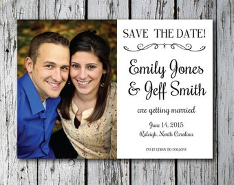 Printable custom wedding save the date with your own photograph