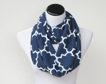 Navy blue Scarf Infinity Scarf Quatrefoil jersey knit loop scarf dark blue circle scarf Mother's day birthday gift for women & teen girls