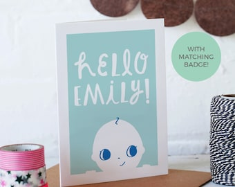 New Baby Personalised Card with matching badge