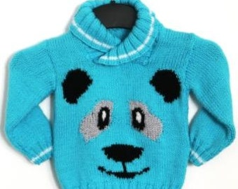 Panda Sweater Knitting Pattern, Sweater Knitting Pattern for Boy or Girl with Panda , Panda Knitted Sweater, Panda Face