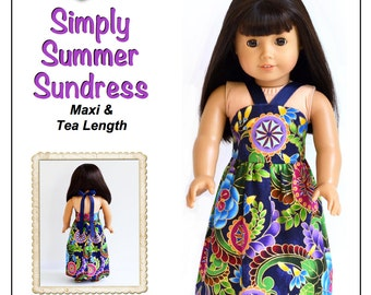 Pixie Faire Love U Bunches Simply Summer Sundress Doll Clothes Pattern for 18 inch AG Dolls - PDF