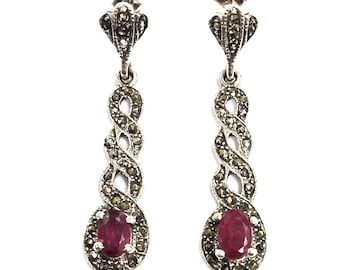 925 Sterling silver Art deco Natural Ruby and Swiss Marcasite drop Earrings