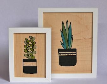 Succulent Real Wood  Art Print - New, Wood Art, Succulents, Print