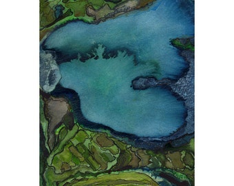 Blue green teal art, small abstract watercolor print, 8 x 10, map inspired, topography, Carcosa