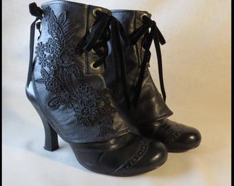 Steampunk Leather Spats Gothic Spats Victorian Spats BLaCK Corset Laceup MADE TO ORDER