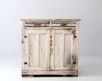 primitive white cabinet, antique cupboard