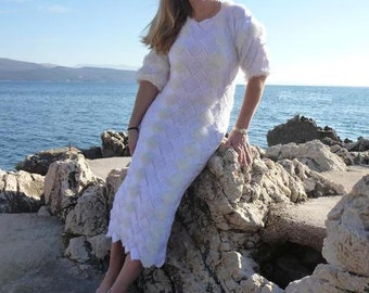 Bridal gown wedding dress knitted patchwork style