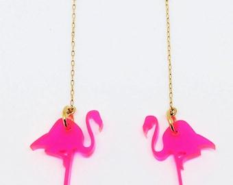 Pink flamingo laser cut earrings, Pink earrings, Flamingo gift, Bird earrings, Laser cut jewelry, Summer earrings, Flamingo jewelry