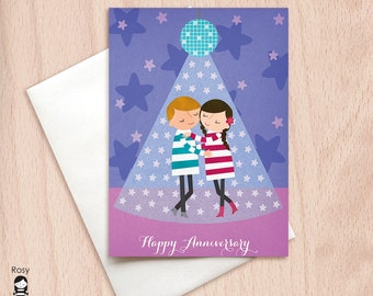 Anniversary Dance - Slow Dance - Boy & Girl - Happy Anniversary Greeting Card