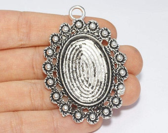 51x36mm Antique Silver Pendant Tray, Bezel Settings, Cabochon Tray,SKU/TR4