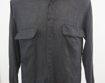 Vintage Gucci Mens Black Button Down 100% Linen Shirt Made in Italy Size 15/38