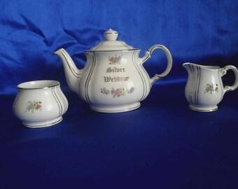 Sadler Silver Wedding Teapot Set with Silver Guilding