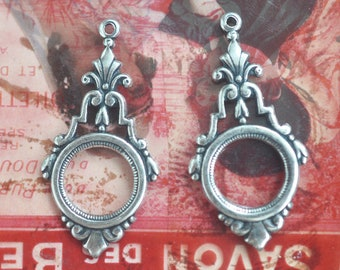 TWO Boho Earring Charms, 11mm Bezel, Pendants, Brass Stampings, Sterling Silver Finish, Jewelry Supplies, Findings made in the usa