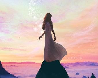 Transcend  - 11X14 print | spiritual pastel art, feminist art, women empowerment, i am that, non duality art pink pastel  - by Lisa Falzon