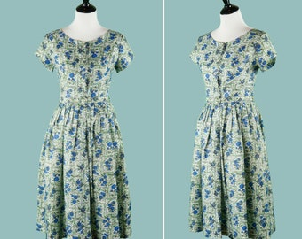 Early 1960s Blue Carnation Print Floral Dress - 60s Floral Summer Dress With Green Leaf Background - Pleated Skirt - Lucite Buttons