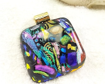 Fused glass pendant, dichroic necklace, dichroic jewelry, fused glass art,creative jewelry, rainbow necklace, fused glass, jewelry handmade