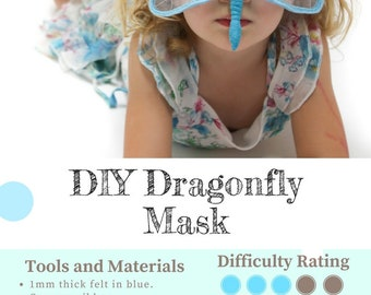 Dragonfly Mask PATTERN // DIY Party Mask // Kids Felt Bug Mask Sewing Pattern