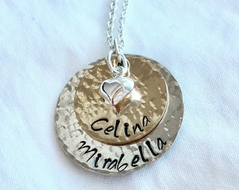 Stamped Mother's Necklace / Grandmother's Necklace / Necklace with Names / Personalized / Sterling Silver / 14k Gold / Family Necklace
