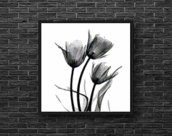 Whimsical Modern Tulip Flower in Black and White Counted Cross Stitch Pattern - PDF Digital Download