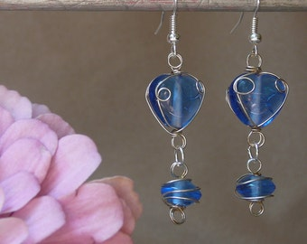 Swinging, Dangly Earrings with Wire Wrapped Blue Glass Beads - Great Christmas Gift, Stocking Stuffer, Holiday Present!