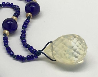 Cobalt blue and yellow glass necklace