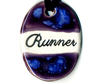 Runner Ceramic Necklace in Purple and Blue