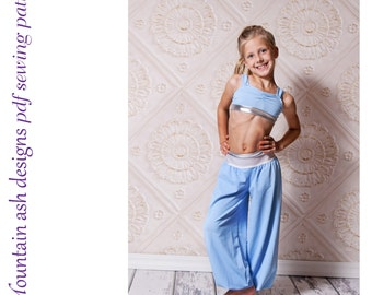 Little Genie Costume Sewing Pattern in Girls sizes 2-14 Crop top and pants dance pattern