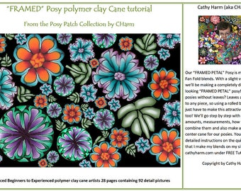 """FRAMED"""" Posy polymer clay Cane tutorial From the Posy Patch Collection by CHarm"""